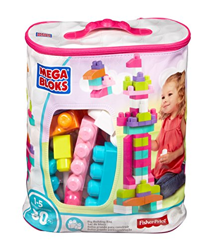 Mega Bloks First Builders Big Building Bag 80 Piece, Pink