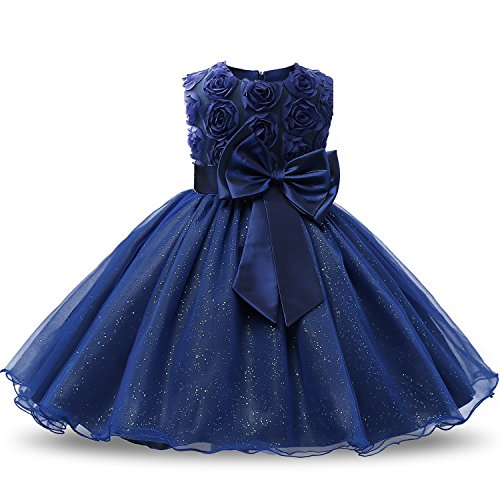 NNJXD Girl Sleeveless Lace 3D Flower Tutu Holiday Princess Dresses Size 7-8 Years Deep Blue ()