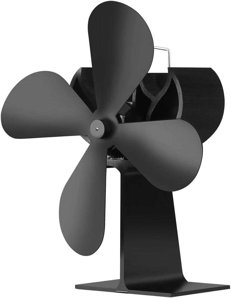 JOYOOO Ventilador de 4 palas para estufa de leña o chimenea,ecológica Ventilador de estufa calor con madera registro carbón estufa quemador funcionamiento silencioso Protección del Medio Ambiente