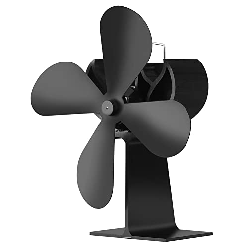 JOYOOO 4-Blade Heat Powered Stove Fan Fireplace Fan,for Log Burner Fan Wood Log Burner/Coal Burner / Wood Stoves , Solid Fuel, Gas Stove Fan,Eco-Friendly Economical Quiet Operating Fireplace Fan Black (Big leaf)