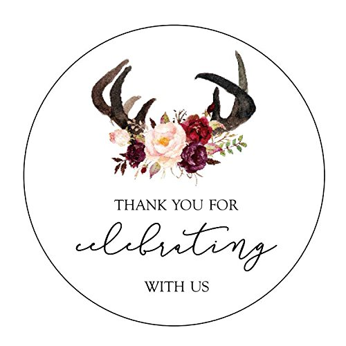 (Thank you For Celebrating With Us Stickers, Antlers, Burgundy Wine Flowers, Floral Stickers, Thank You Labels, Rustic Favor Stickers, Thank You For Celebrating With Us Labels)