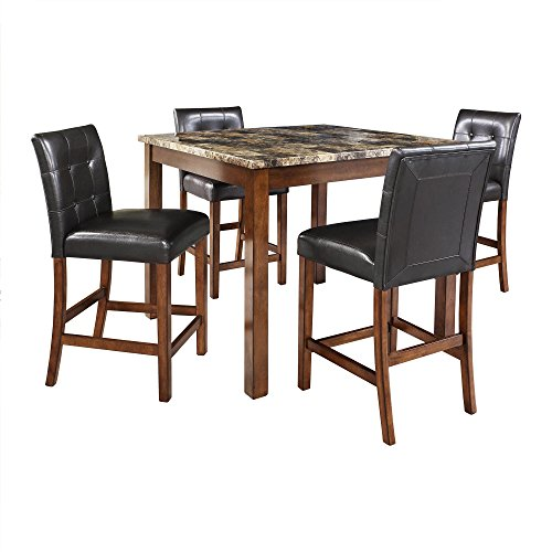 Dorel Living Andover Faux Marble Counter Height Dining Set, Brown - Cherry Dining Room Game Table