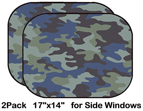 Liili Car Sun Shade for Side Rear Window Blocks UV Ray Sunlight Heat - Protect Baby and Pet - 2 Pack Background of Soldier Blue camo Pattern Image ID 22968431