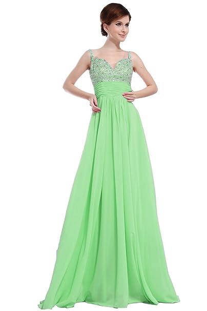 JAEDEN Elegante Cuentas Larga Dama Noche Vestidos Gasa Partido Prom Fiesta Verde Verde 54