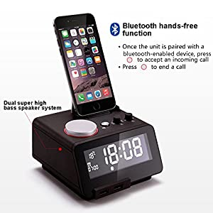 Homtime C12-PRO Alarm Clock, USB Clock with Lightning Connector, 5 Modes To Play Music, Bluetooth Hands free Digital Alarm Clock, 4 Level Dimmable, and Personalized Alarm Ring