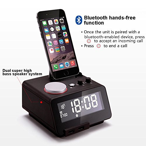 Homtime C12-PRO iPhone Docking Alarm Clock Radio with USB, 5 Modes to Play Music, Bluetooth Hands Free Digital Alarm Clock, 4 Level Dimmable, and Personalized Alarm Ring by Homtime (Image #2)