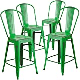 "Cheap Flash Furniture 4 Pk. 24"" High Distressed Green Metal Indoor-Outdoor Counter Height Stool with Back"