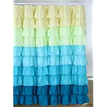 Bedford Home Spring Ruffle Shower Curtain with Buttonhole