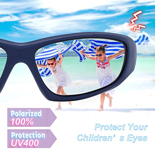 RIVBOS RBK003 Rubber Flexible Kids Polarized Sunglasses for Baby and Child,3-10 Age(Mirrored Lens Available) (805-navy blue)