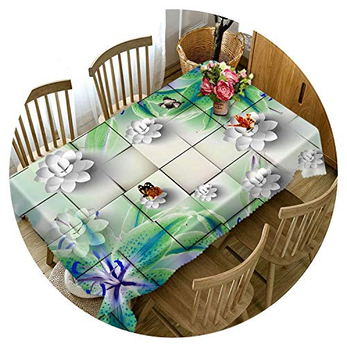 Tablecloth Customize 3D Tablecloth Colored Paper Flower Pattern Dustproof Thicken Cotton Wedding Party Rectangular Table Cloth Home Textile,Color 7,40Cm X 40Cm]()