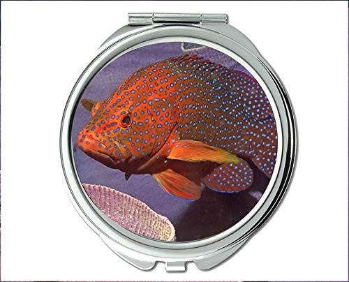 Mirror,Travel Mirror,Starfish theme of Pocket Mirror,portable mirror 1 X 2X Magnifying