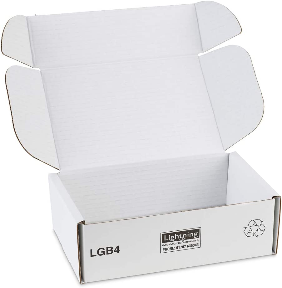 White Cardboard Postal Boxes 225x150x75mm 9x6x3ins Pack Of 25 Royal Mail Small Parcel Size Strong Flatpacked Mailing Boxes With Triple Thick Sides Self Lock Tuck In Flaps Versatile Plain Flat Postage Box