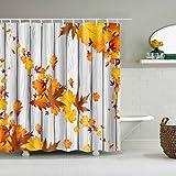 Cugap Mildew Resistant Modern Maple Leaf Printing Bathroom Decor Waterproof Shower Curtain 12 Hooks Set Rust Proof Grommets
