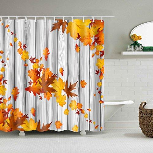 Cugap Mildew Resistant Modern Maple Leaf Printing Bathroom Decor Waterproof Shower Curtain 12 Hooks Set Rust Proof Grommets by Cugap