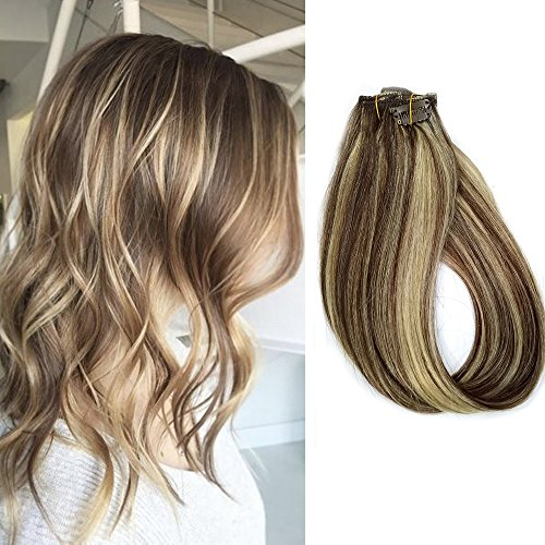 Clip in Human Hair Extensions 70grams 7pcs Dark Brown and Bleach Blonde Balayage 18 Inch Straight Remy Hair Extensions Clip ins, Color #2/613 (Highlights Brown Dark)