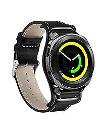 Huamecl For Samsung Gear Sport Straps,Soft Luxury Genuine Leather Band Bracelet Wrist Bands Replacement for Samsung Gear Sport SM-R600/ Gear S2 Classic SM-R732 & SM-R735 Watch-Black