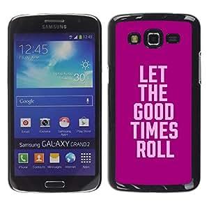 Púrpura rosada del partido de la universidad las vacaciones de primavera de texto - Metal de aluminio y de plástico duro Caja del teléfono - Negro - Samsung Galaxy Grand 2