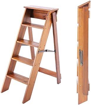 YZQ Escalera Plegable Inicio Heces,Plegable Escalera de Madera 5 Paso de Heces para Adultos de Cocina Niños Escaleras de Madera Pie Alto Heces Se Abrieron Seguridad Cubierta Portátil Zapatero Banco-F: Amazon.es: Bricolaje