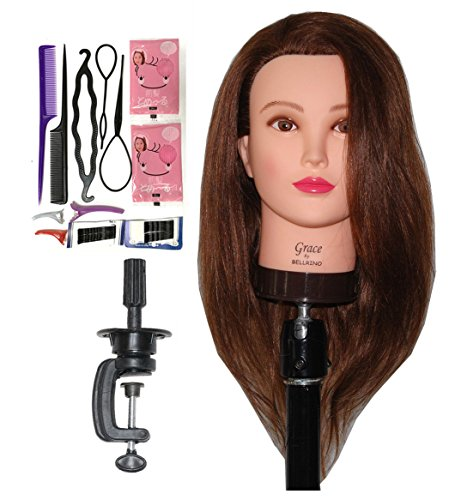 "Price comparison product image Zvena Beauty 20 - 22 "" 100% Human Hair Cosmetology Mannequin Manikin Training Head with Clamp (22"" MEDIUM BROWN (GRACE+C))"