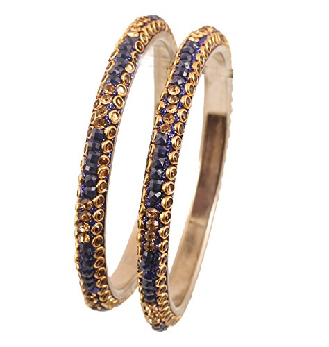 Blue Sapphire Square Bracelet (Touchstone Yellow Kundan Work Square Shape Faux Blue Sapphire Yellow Citrine Rhinestone Indian Bollywood Designer Jewelry Metal Bangle Bracelets In Antique Gold Tone For Women. Set Of 2)
