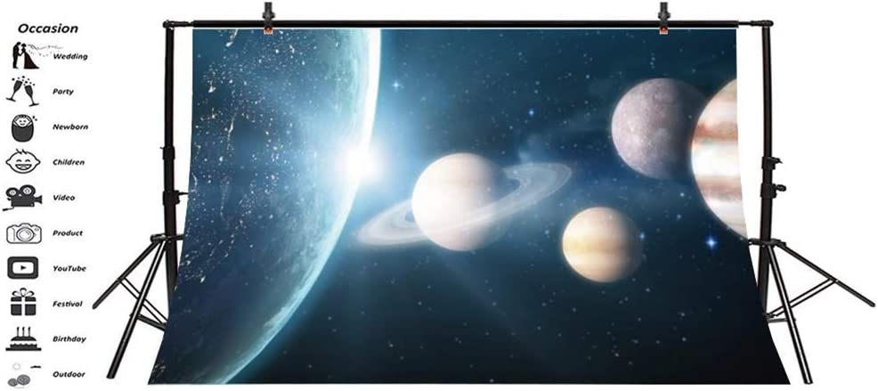 Vinyl 10x7ft Beautiful Outer Space Photography Background Planets Stars Galaxy Light Beams Science Fiction Backdrops Children Adults Portrait Shooting Artistic Photo Studio Props