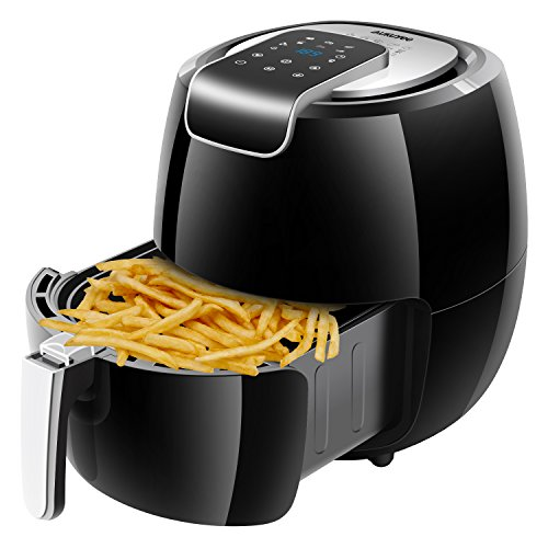 AUKUYEE Air Fryer, Hot Air Fryer Oilless Air Fryer Hot with Recipes, Touch Screen Control, Dishwasher Safe, XL 5.6QT / 1800W for Fast, Healthy & Oil-Free Cooking (Black)