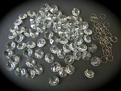 77 x 14mm Octagon Crystals for Chandelier Ceiling Lights With Chrome Rings ColorMax