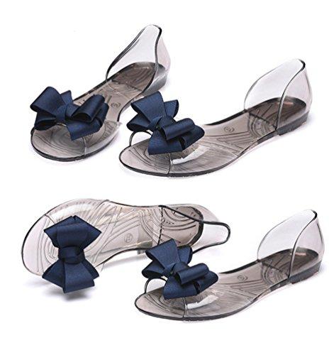 LvRao Womens Summer Transparent Light Beach Shoe Flats with Bowknot Peep-Toe Slip On Sandals Sapphire aMF2dNfXQ7