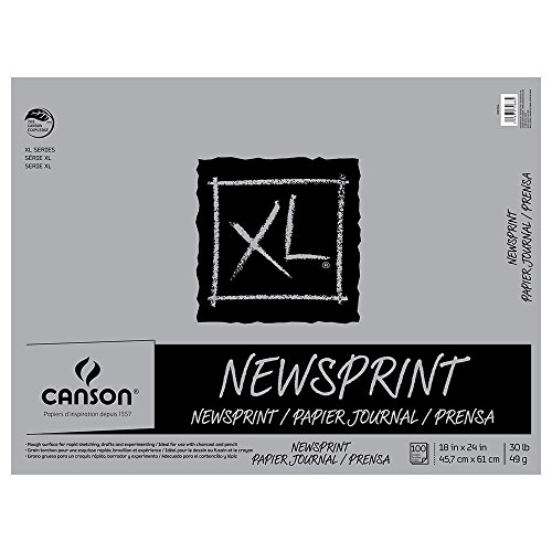Canson Biggie 24 x 36 Inches Newsprint Sheet Pad (Recycled Newsprint Drawing Paper)