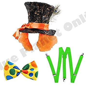 Jumbo Bow Tie Adult Mad Hatter Alice Tea Party Stovepipe Hat with Hair Braces