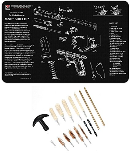 Ultimate Arms Gear Smith & Wesson S&W M&P SHIELD Gunsmith & Armorer's Work Tool Bench Pistol Handgun Gun Mat + 17pc Cleaning Kit Brushes, Swab, Slotted Tips and Patches - Gunsmith Wesson