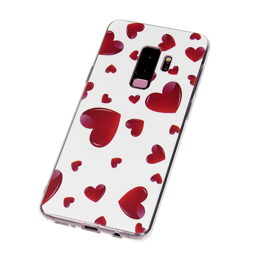 Galaxy S9 Plus Case, S9 Plus Cover Ultra Slim HD Clear & Full TPU Soft Shockproof Drop Pretective Skin Shell for Samsung Galaxy S9 Plus 2018 Version, Red Heart by SUPWALL (Image #8)