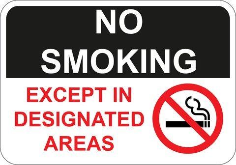 No Smoking Except in Designated Areas sign. 10