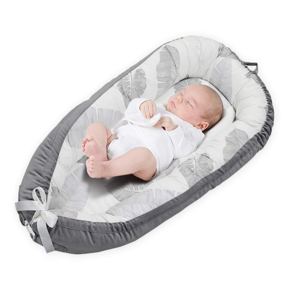 Detachable Double-Sided Newborn Lounger, KOBWA Portable Soft Breathable Baby Snuggle Nest, Removable Cover Baby Bionic Bed for Infants Toddlers - 100% Cotton & Suede Crib Mattress for Bedroom Travel