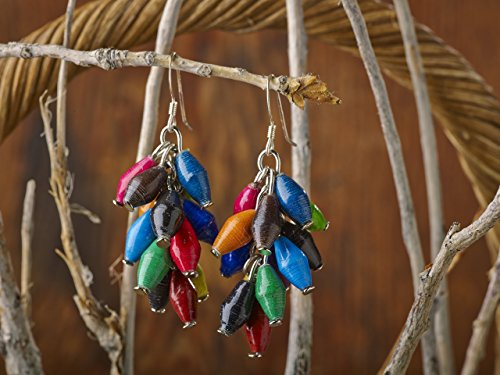 Paper Bead Cluster Musana Earrings – Multicolored – Fair Trade BeadforLife Jewelry from Africa