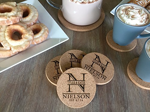 Personalized Cork Coasters for Drink Absorbent - Cool Coffee Table Monogram Coasters Wedding Gift (Nielson Design, Set of 4)
