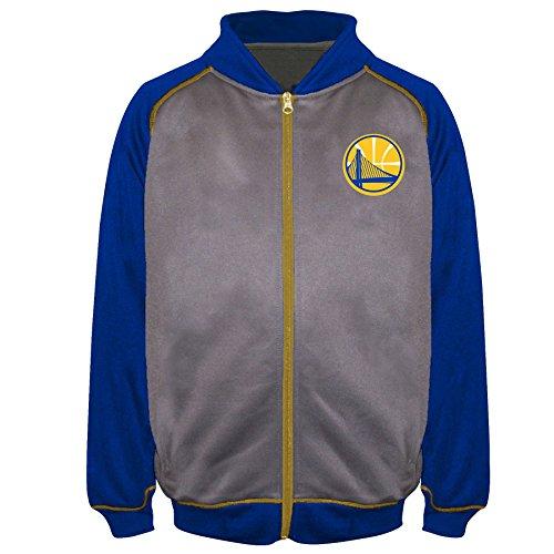 State Track Jacket - NBA Golden State Warriors Poly Fleece Raglan Track Jacket, Char/Royal, 5X