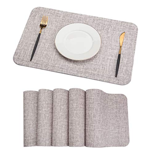 SHINYKDY PU Leather Placemats Set of 6 - Coffee Table Mats Waterproof for Dining Table and Wood Table Stain-Resistant Heat-Insulation Non-Slip Tablemats 12 X 18 inches