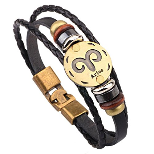 HIRIRI Hot Sale Unisex 12 Constellations Bracelet Fashion Jewelry Alloy Leather Bracelet Personality Bracelet Gift (Aries)