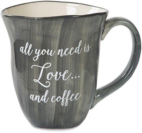 Pavilion Gift Company EmmalineAll You Need is Love and Coffee Ceramic Coffee Mug, 16 oz, Charcoal