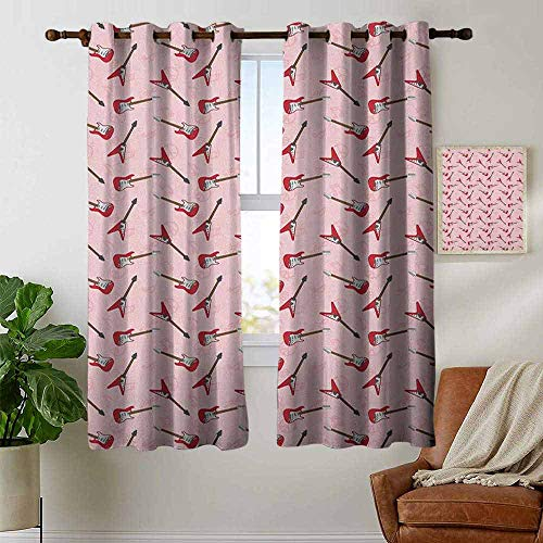 petpany Grommet Curtains Guitar,Different Electric Guitar Silhouettes on Pink with Music and Peace Signs, Pale Pink Maroon Brown,Blackout Draperies for Bedroom Window 42