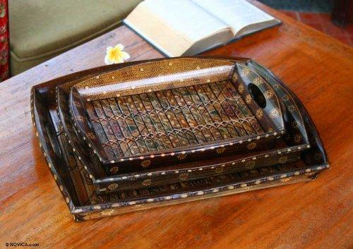 NOVICA Decorative Bamboo Batik Trays, Brown, 'Java Romance' (Set of 3) by NOVICA