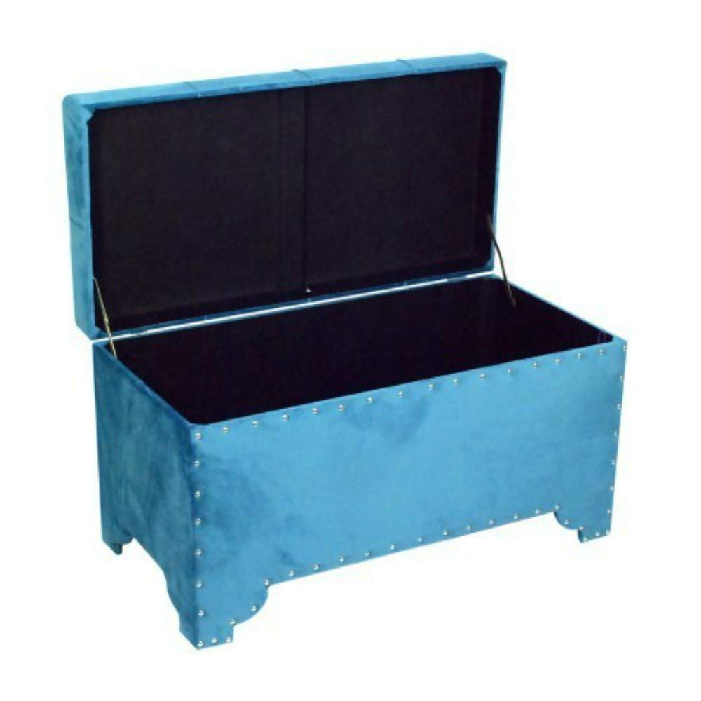 CAPRILO Set de 3 Banquetas-Baúles Decorativos de Madera Azul ...