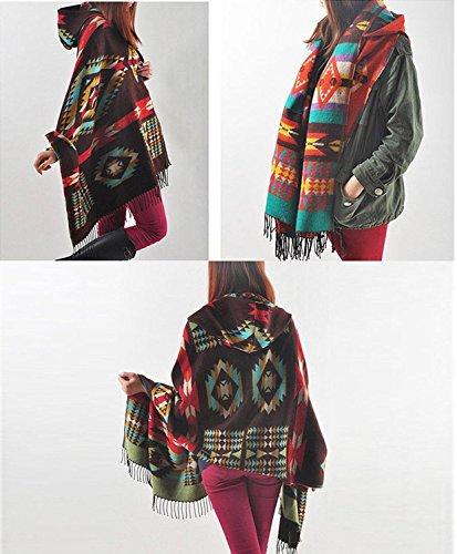 Manteau Hiver Poncho Cape Manteaux Blend Laine Automne Chale Blanket Caf Femmes Capuche Minetom 61q4x