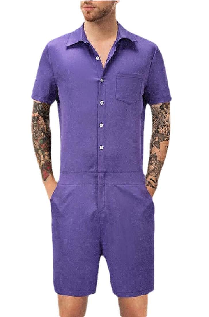 Kurze /Ärmel Knopfleiste Jumpsuits mit Taschen Shorts dahuo Herren Strampler einteilig