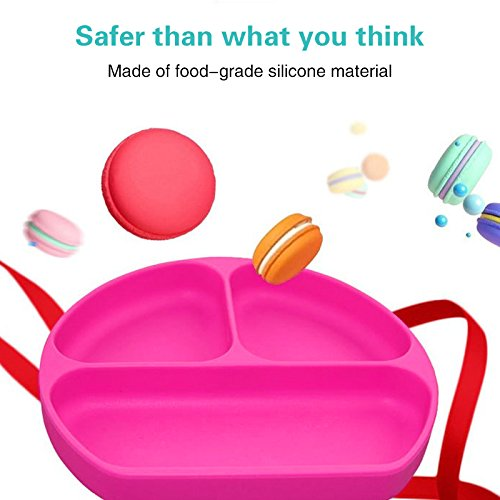 Baby Suction Plates Wivarra Silicone Suction Baby Plate Weaning Toddler Feeding Placemat with 3 Divided Sections Table Mat for Highchair and Travel (Pink)