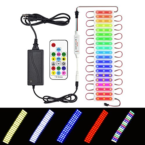 - LED Module 5050 RGB Color Lights Kit Outdoor Shop Bar Home Lights DC12V Waterpoof IP67 Pixel LED String 20 pcs Color Changing Lights 14Key IR Remote Control and Power Supply