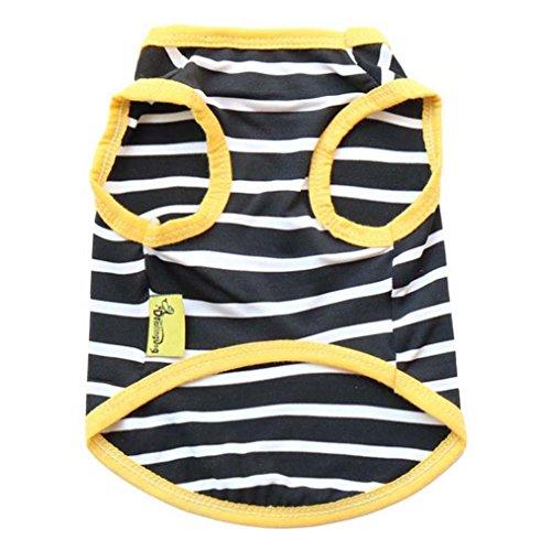Dog Cool Stripe (Ninasill ღ ღ Elastic Dog Clothes Black And White Stripe Vest (L, Yellow))