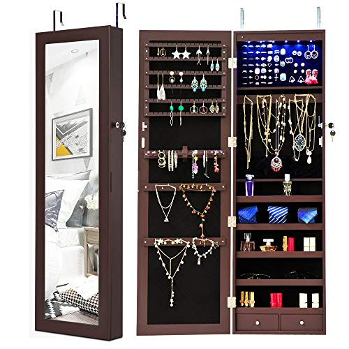 (Homevibes Jewelry Cabinet Jewelry Armoire 6 LEDs Mirrored Makeup Lockable Door Wall Mounted Jewelry Organizer Hanging Storage Mirror with 2 Drawers, Espresso)