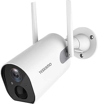 Opinión sobre YESKAMO Cámara de Vigilancia de Batería Interior/Exterior Inalámbrica 10400mAh HD 1080P Cámara IP WiFi con Detección de Movimiento Audio Bidireccional para Seguridad en El Hogar